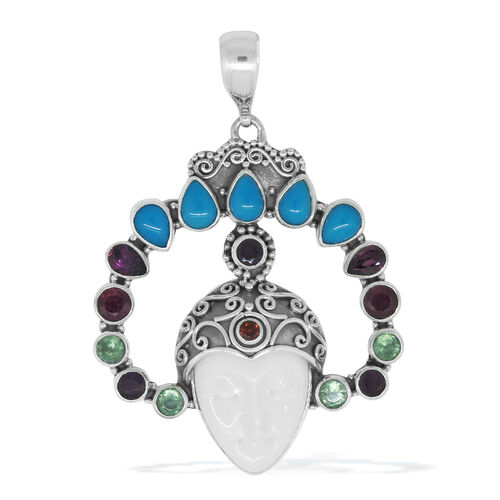 Princess Bali Collection OX Bone Carved Face (Ovl), Rhodolite Garnet, African Ruby, Sleeping Beauty Mojave Turquoise and Multi Gemstone Pendant in Sterling Silver 12.830 Ct. Silver wt 12.22 Gms.