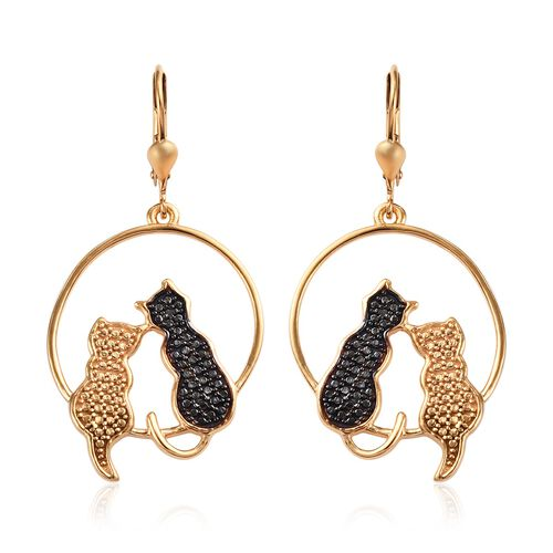 Black Diamond Twin Cat Lever Back Earrings in Rhodium and Gold Plated Silver