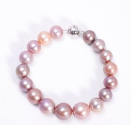 Multi Colour Edison Pearl Bracelet (Size 7.5 with Magnetic Lock) in Rhodium Overlay Sterling Silver