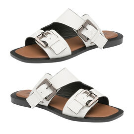 Ravel Kintore Leather Mule Sandals in White Colour