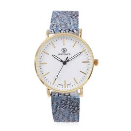 STRADA Japanese Movement Water Resistant Watch with Snake Pattern Mesh Chain Strap
