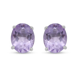 Natural Pink Amethyst Stud Earrings (with Push Back) in Sterling Silver 3.50 Ct.