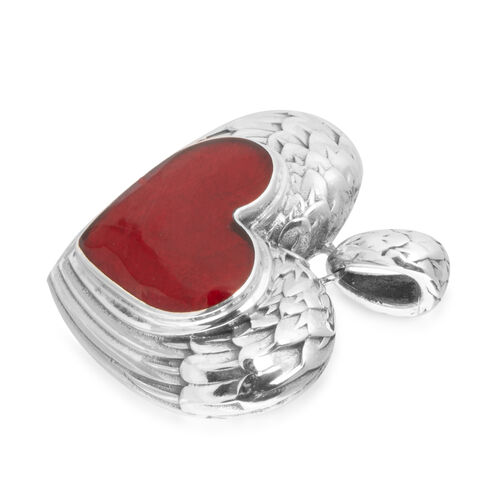 Bali Legacy Collection Coral (Hrt) Heart Pendant in Sterling Silver, Silver wt 9.41 Gms.