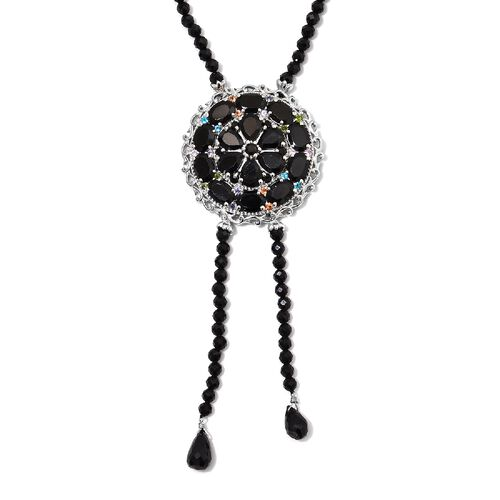 95.75 Ct Boi Ploi Black Spinel and Multi Gemstone Floral Necklace in Platinum Plated Silver 18 Inch