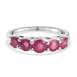 DOD - African Ruby and White Diamond Ring in Platinum Overlay Sterling Silver 1.00 Ct.