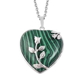 Simulated Malachite Flower Vine Heart Pendant with Chain (Size 24) in Stainless Steel