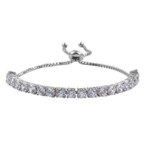 J Francis - Platinum Overlay Sterling Silver (Rnd) Adjustable Bracelet (Size 7.5) Made with SWAROVSKI ZIRCONIA