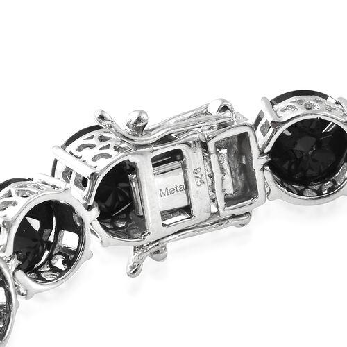 Red Carpet Collection--Boi Ploi Black Spinel (Rnd 9mm) Bracelet (Size 7.5) in Platinum Overlay Sterling Silver 67.750 Ct, Silver wt 14.20 Gms.