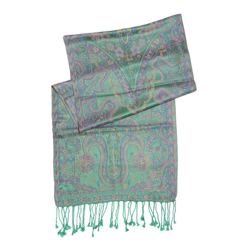 SILK MARK - 100% Superfine Silk Green, Purple and Multi Colour Floral Pattern Jacquard Jamawar Scarf with Tassels (Size 170x35 Cm)