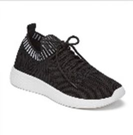 Stripe Detail Knitted Black Sports Trainers