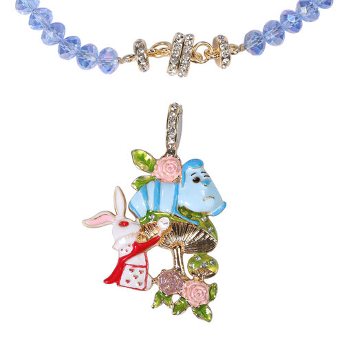 White Austrian Crystal and Simulated Blue Topaz Enamelled Animal Tower Detachable with Magnet Pendant Necklace (Size 20)