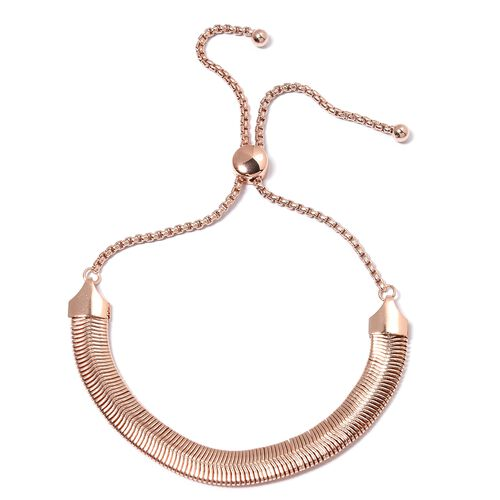 Rose Gold Plated Stainless Steel  Adjustable Necklace (Size 16 to 30) and Bracelet (Size 6.50 to 10.50).