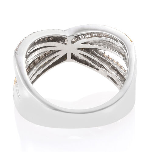 Yellow Diamond (Rnd), White Diamond Criss Cross Ring in Platinum and Gold Overlay Sterling Silver 1.000 Ct.