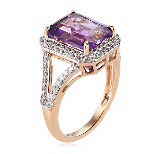 9K Y Gold Moroccan Amethyst and Natural Cambodian Zircon Ring 3.85 Ct, Gold wt. 3.09 Gms