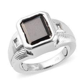 Elite Shungite and White Topaz Magnetic Ring in Platinum Overlay Sterling Silver 4.20 Ct, Silver wt