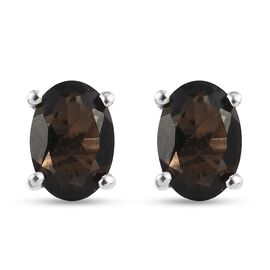 Smoky Quartz Stud Earrings (with Push Back) in Platinum Overlay Sterling Silver 1.58 Ct.