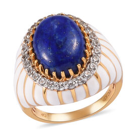 GP Lapis Lazuli, Natural Cambodian Zircon and Blue Sapphire Enamelled Ring in 14K Gold Overlay Sterl