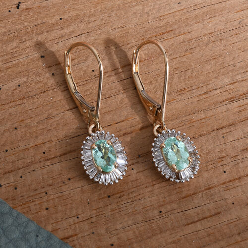 ILIANA 18K Yellow Gold AAA Mozambique Paraiba Tourmaline (Ovl), Diamond (SI/G-H) Lever Back Earrings 1.335 Ct.