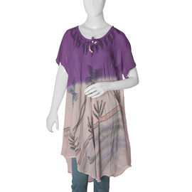 New for Spring- Purple and Beige Dip dye Tunic Top with Hand Embroidery one Size to fit most