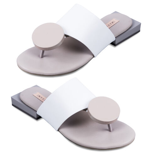Inyati Giana Open Toe Slip On Sandals (Size 5) - White and Taupe