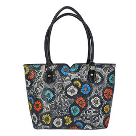 100% Genuine Leather Colourful Flowers Pattern Shoulder Bag (Size 29x10x26 Cm) - Dark Navy