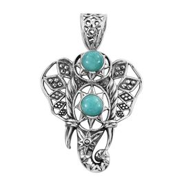Artisan Crafted Russian Amazonite (Rnd) Elephant Pendant in Sterling Silver 2.040 Ct, Silver wt 6.26