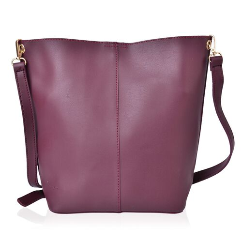 Set of 2 - Burgundy Colour Buckle Design Handbag (Size 33X23X13 Cm) and Small Handbag (Size 24X22X18X6 Cm) with Ajdustable and Removable Shoulder Strap
