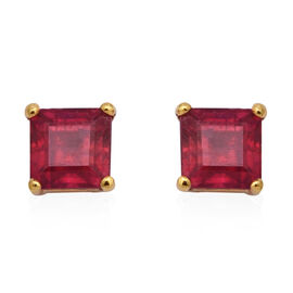 3.56 Ct AAA African Ruby Stud Solitaire Earrings in Gold Plated Sterling Silver