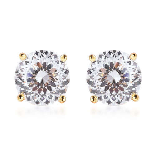 TJC Launch- AAAA Radiant Cut Simulated Diamond Stud Earrings (with Push Back) in Yellow Gold Overlay