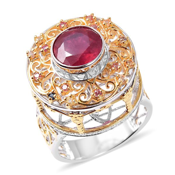 Niassa Ruby, Multi Sapphire Ring in Vermeil Yellow Gold Overlay  Sterling Silver 4.15 Ct, Silver Wt