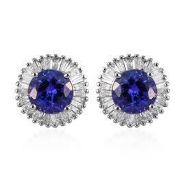 RHAPSODY 950 Platinum AAAA Tanzanite and Diamond Halo TSud Earrings (with Screw Back) 2.25 Ct, PLati