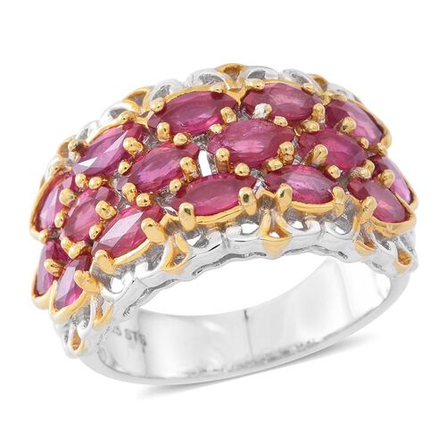 6.50 Ct African Ruby Cluster Ring in Rhodium and Gold Plated Silver 7.50 Grams