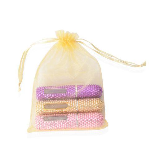 3 Piece Set - Purple, Champange and Pink Colour Pocket Perfume Bottles (Size 8.8x2 Cm)