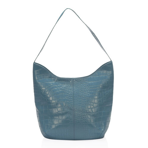 New Season 100% Genuine Leather RFID Secure Azure Colour Croc Embossed Hobo Bag (Size 35x27x15 Cm)