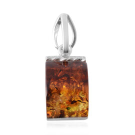 Bi- Colour Champagne Baltic Amber Pendant in Sterling Silver