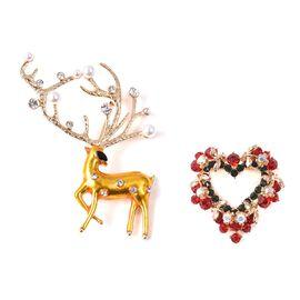 2 Piece Set - Multicolour Austrian Crystal (Rnd), Simulateed Pearl Reindeer and Heart Wreath Enamell