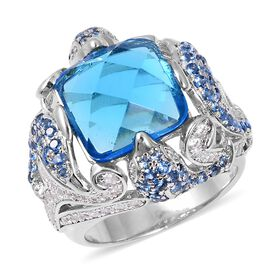 Simulated Blue Topaz and Simulated Diamond Ring in Silver Plated