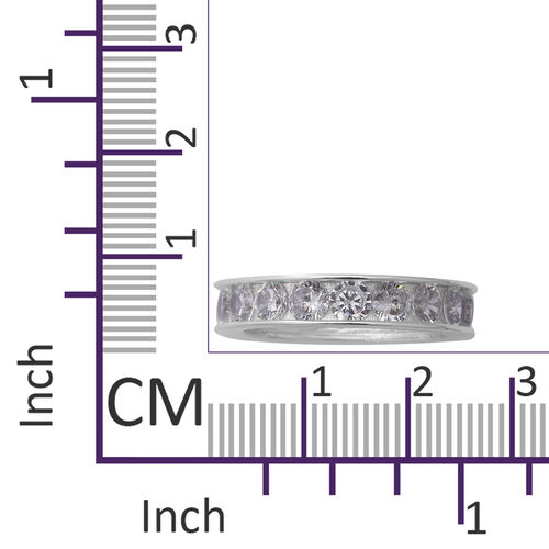 ELANZA Simulated Diamond Eternity Band Ring in Rhodium Overlay Sterling Silver 7.85 Ct.