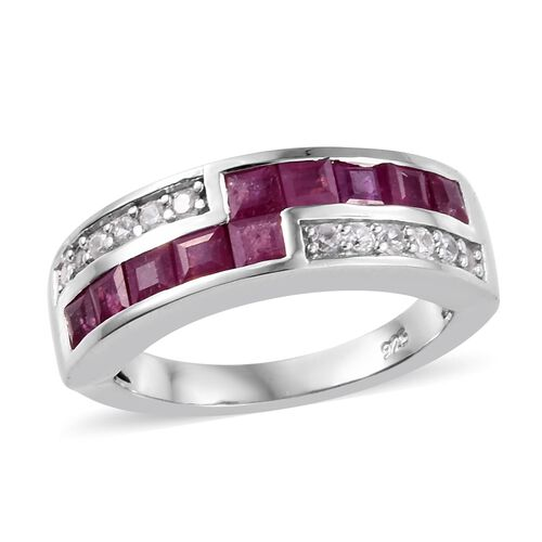 African Ruby (1.15 Ct),Cambodian Zircon Platinum Overlay Sterling Silver Ring  1.750  Ct.