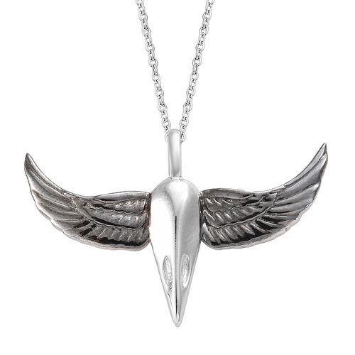 Platinum Overlay and Black Plating Sterling Silver Crow Wing Pendant With Chain