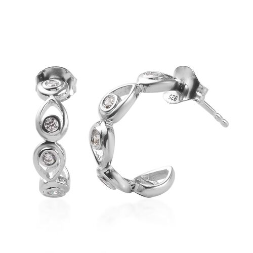 J Francis - Platinum Overlay Sterling Silver (Rnd) J-Hoop Earrings(with Push Back) Made with SWAROVS