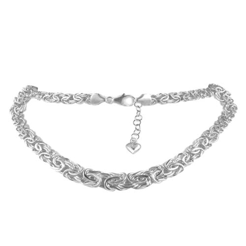 JCK Vegas Collection 9K White Gold Byzantine Necklace (Size 18 with 3 inch Extender), Gold wt. 12.76 Gms.