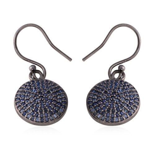 Madagascar Blue Sapphire (Rnd) Fish Hook Earrings in Black Overlay Sterling Silver 1.000 Ct,