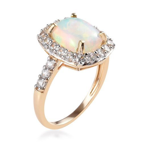 9K Yellow Gold AAA Ethiopian Welo Opal (Cush 10x8 mm), Natural Cambodian White Zircon Ring 3.00 Ct.