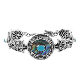 Royal Bali Collection - Arizona Sleeping Beauty Turquoise and Abalone Shell Bracelet (Size 7 with 0.