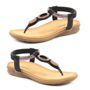 Heavenly Feet Honeydew Sandal - Black