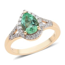 ILIANA 18K Yellow Gold AAA Boyaca Colombian Emerald and Diamond (SI/G-H) Ring 1.35 Ct, Gold wt 5.30