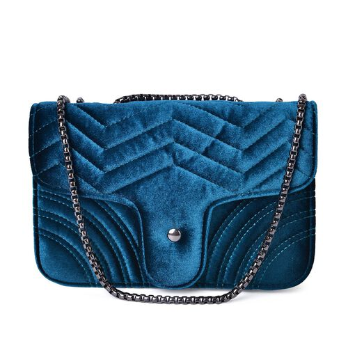 Midnight Blue Velvet Zigzag Pattern Crossbody Bag with Chain Strap (Size 23X15.5X7.7 Cm)