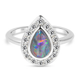 Australian Boulder Opal and Natural Cambodian Zircon Ring in Rhodium Overlay Sterling Silver 1.16 Ct
