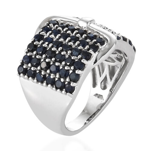 Kanchanaburi Blue Sapphire (Rnd) Buckle Ring in Platinum Overlay Sterling Silver 2.750 Ct, Silver wt 6.58 Gms.